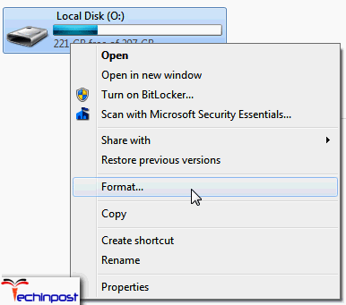 Formatting the Partition in Question