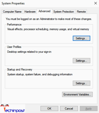 Inside the System Properties, click on the Advanced tab and then under the Performance, click on the Settings option