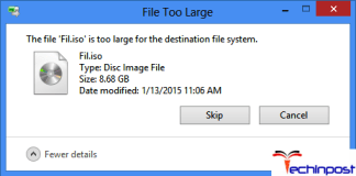 The File is too Large for the Destination File System