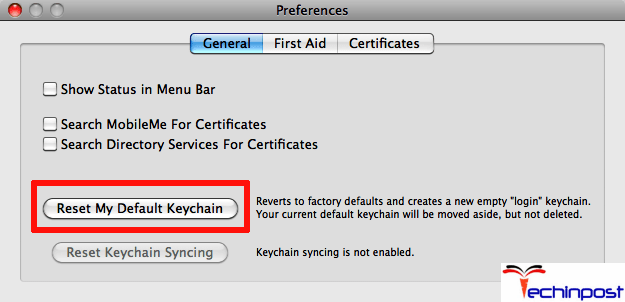 Then click on Reset My Default Keychain