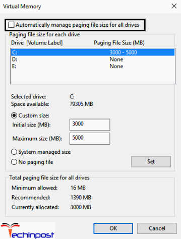 """Now uncheck the option """"Automatically manage paging file size for all """" Now highlight the system drive under the Paging file size. Then set some proper values in the fields under the Custom size option. Remember not to choose the No paging file option"""
