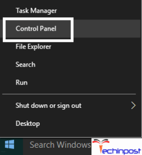 Type Control Panel in the search box and select Control Panel to open it