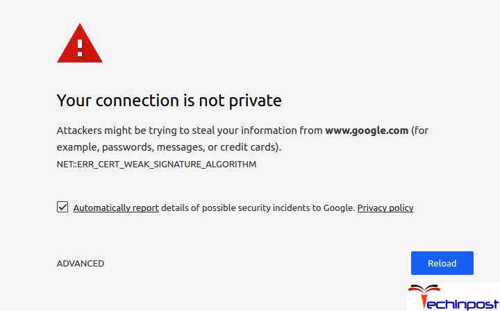 browser connection not private