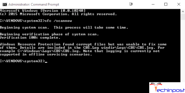 """Type in """"sfc /scannow"""" command and run it by pressing Enter"""