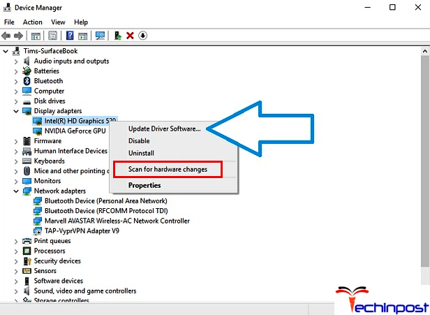 Select Scan for Hardware Changes. Application has been Blocked from Accessing Graphics Hardware