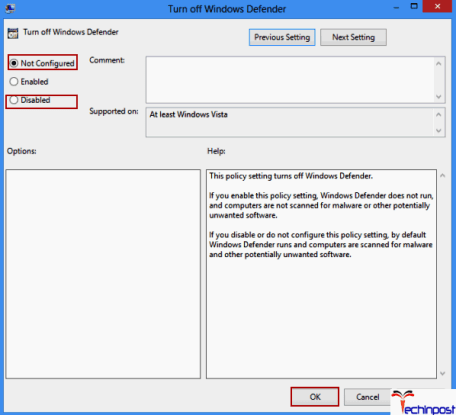 Enabling Windows Defender in Group Policy