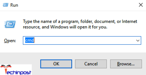 In the user input type cmd for opening a command prompt and click OK button
