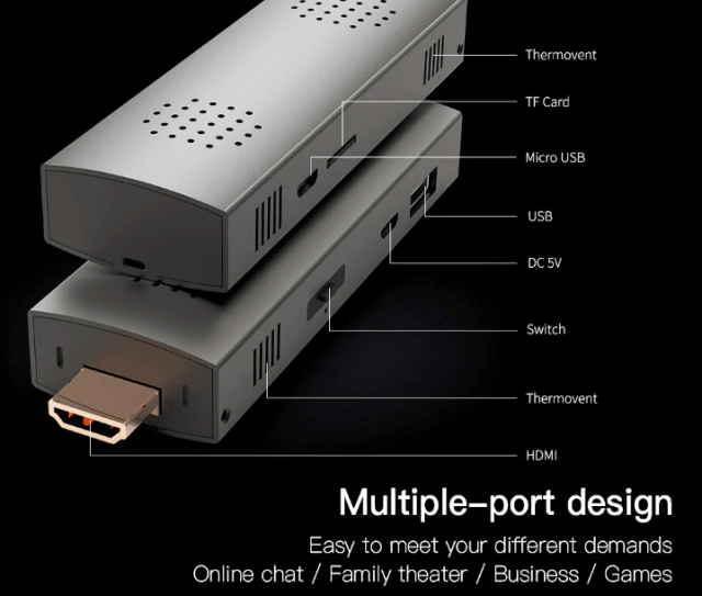 HIGOLE D2 Mini PC Stick Ports & Connectivity