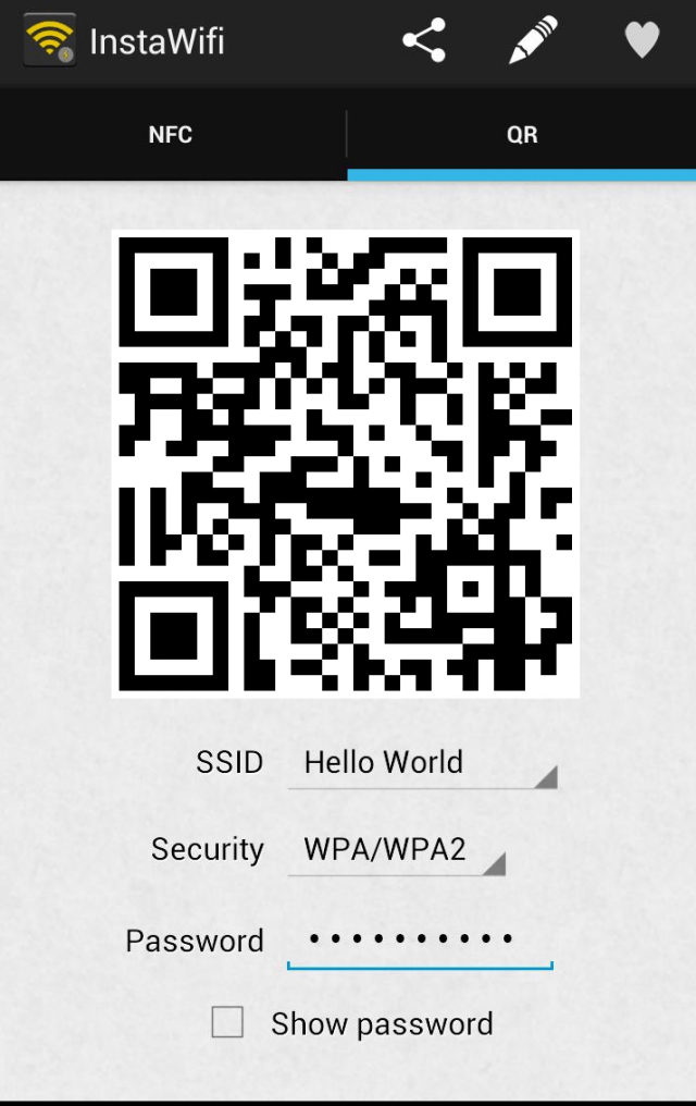 Sharing WiFi Passwords Using NFC