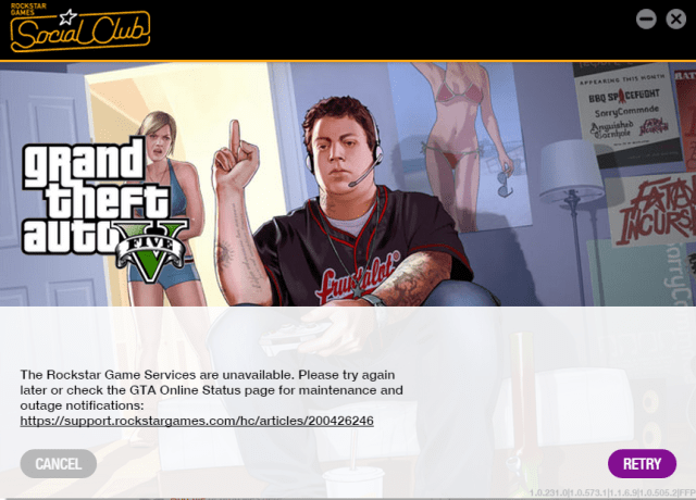 rockstar game services are unavailable On site