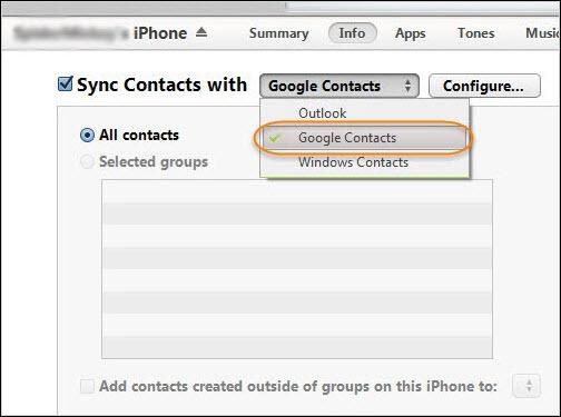 Export Contacts to Your Google Account with iTunes