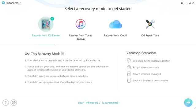 Before starting the software, you will be asked to select the recovery mode, i.e., Recover from the IOS device or Recover from iTunes backup or Recover from iCloud or IOS Repair Tools