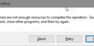 Not Enough Resources Are Available To Complete This Operation Error