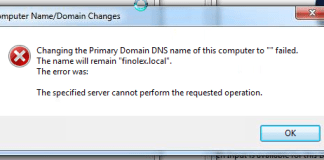 The Specified Server Cannot Perform the Requested Operation