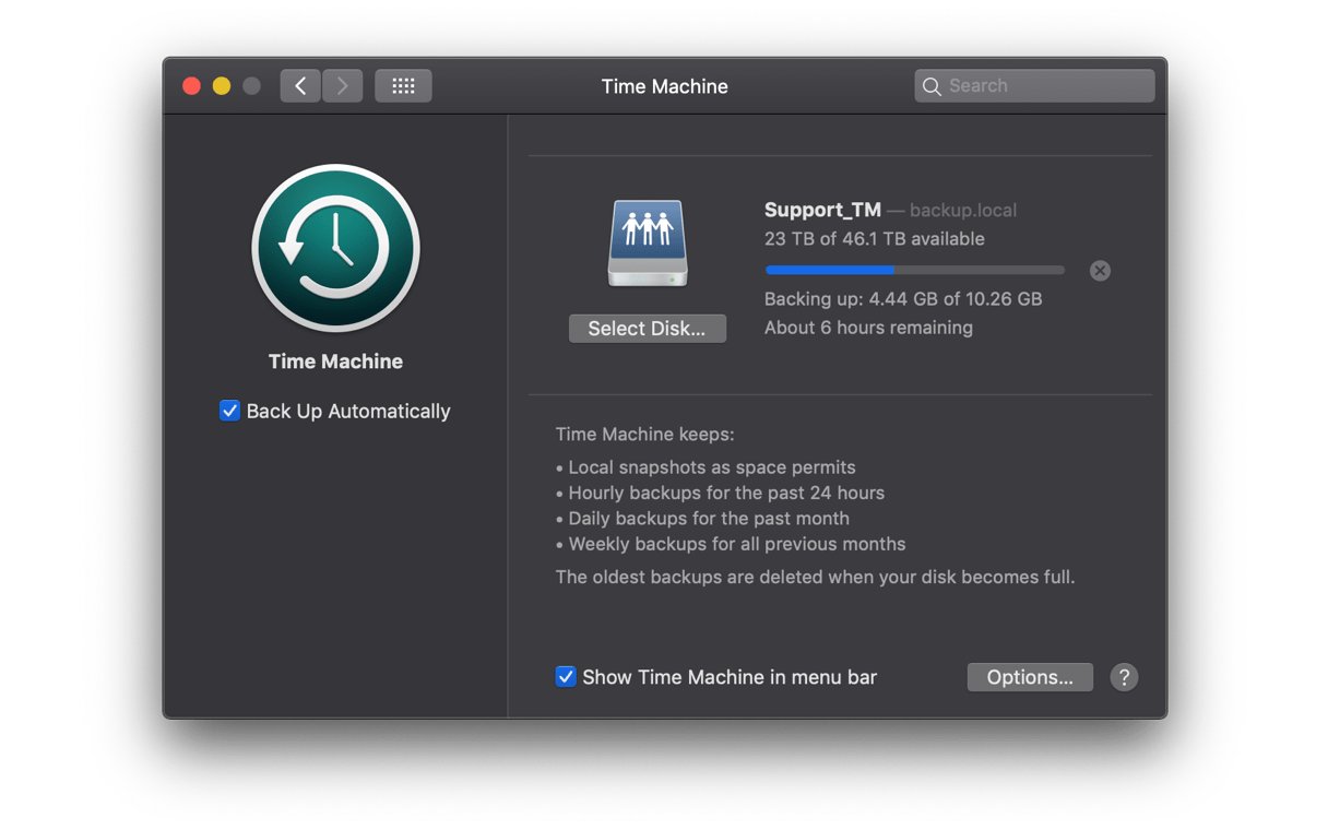 Restore from Time Machine backup