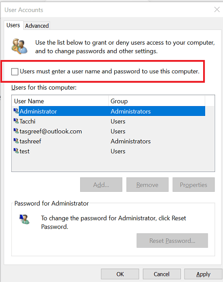 Enable Auto Login in Windows 10 The Username or Password is Incorrect