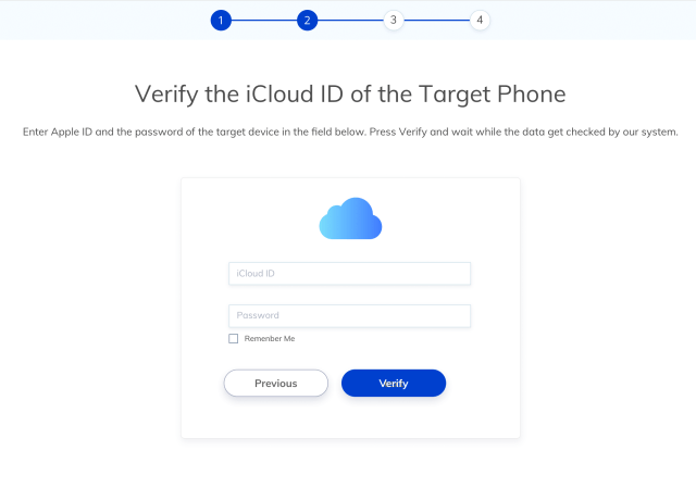 Enter your child's iPhone iCloud ID and password for verification then wait for configuration