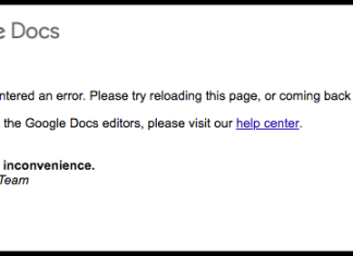 Google Docs Encountered an Error