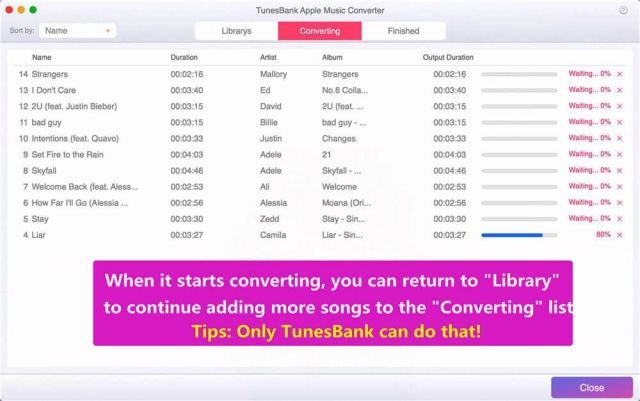 """The last step is to click the """"Convert"""" button, and it will immediately start converting Apple Music to MP3 and save them in the default folder"""