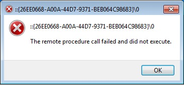 The Remote Procedure Call Failed And Did Not Execute Error