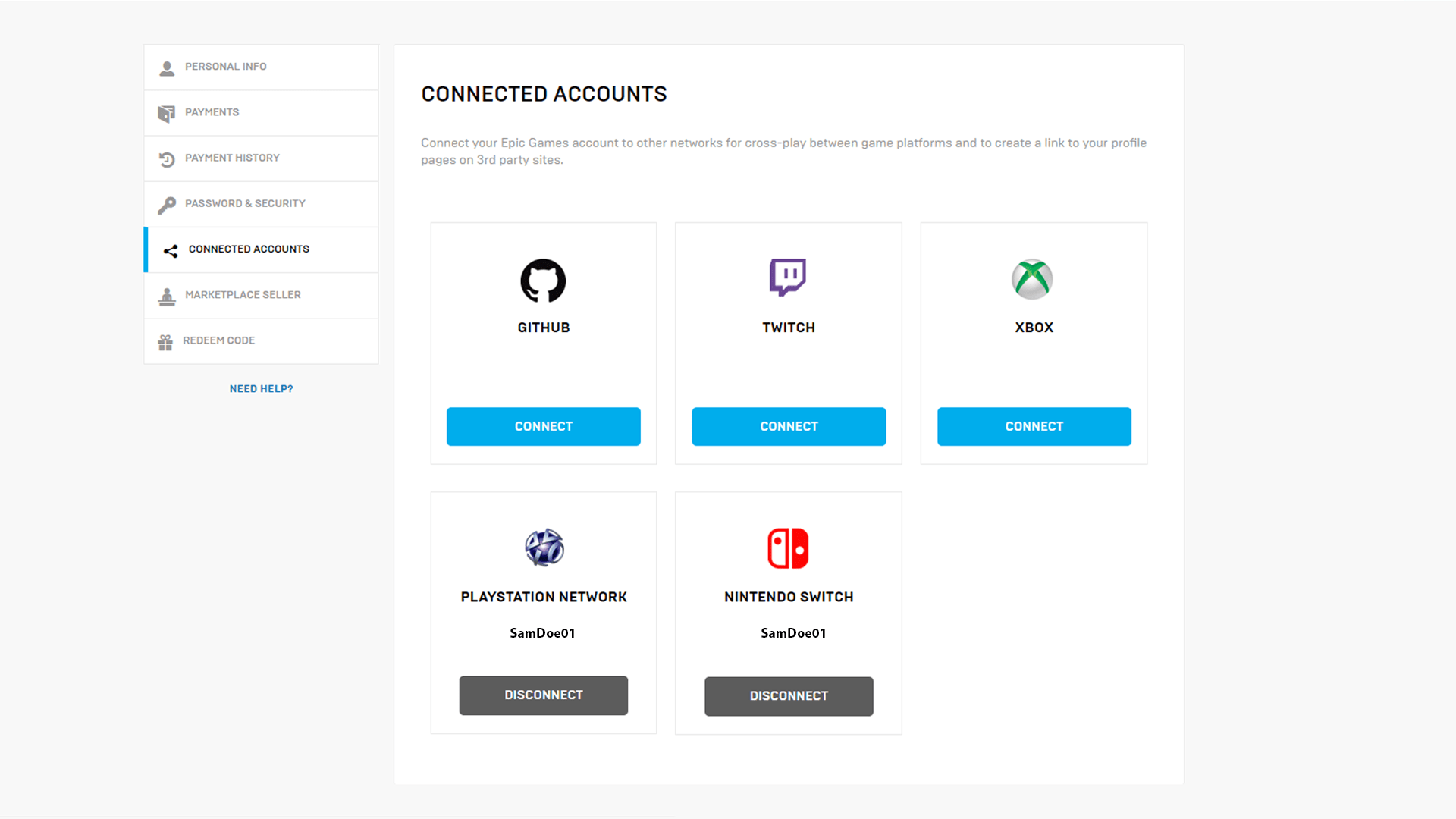 account page epic games