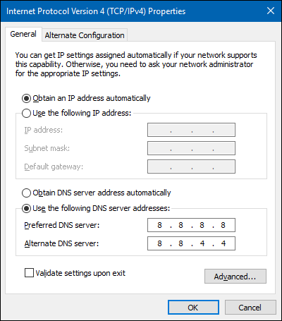 DNS Name Does Not Exist Error Invalid IP Address