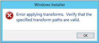 Error Applying Transforms
