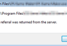 A Referral Was Returned From The Server Error