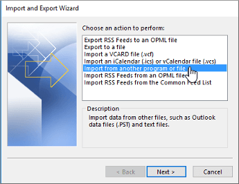 Select Import from another program or file option and click Next