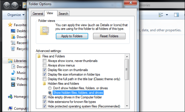 Show hidden files, folders and drives Unknown Error Occurred