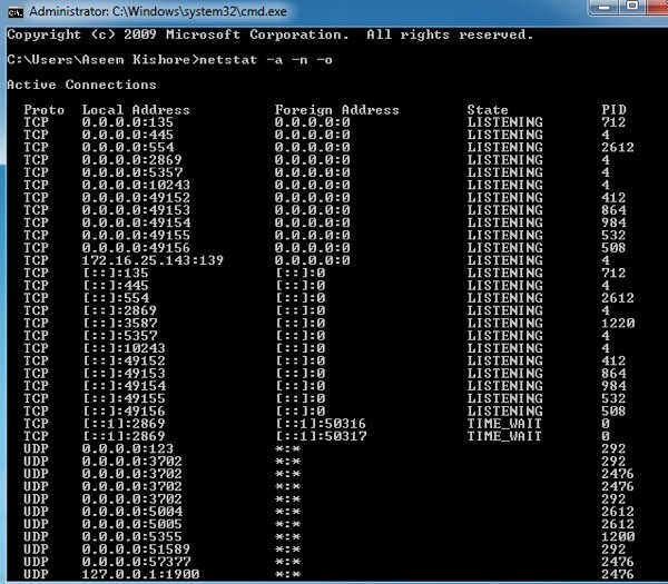 netstat -ano The Process Cannot Access The File Because it is Being Used by Another Process