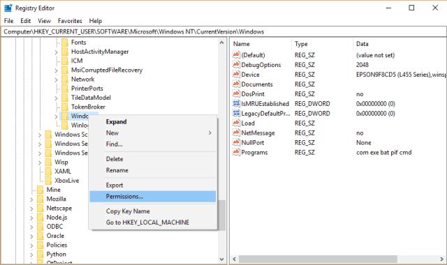 registry editor windows permissions