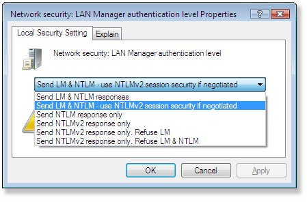 Send LM & LTLM - use NTLMv2 session security if negotiated The Specified Network Password Is Not Correct