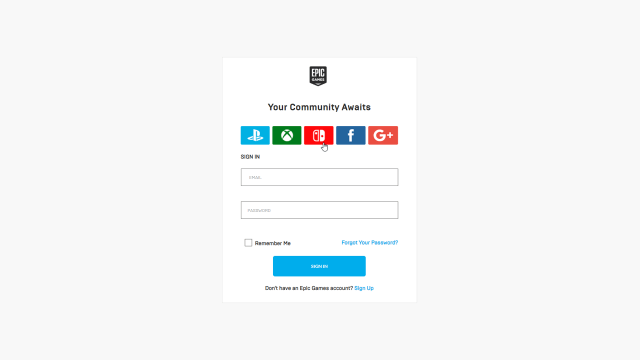 epic games sign in page