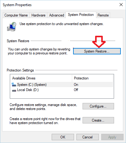system restore 2 The Configuration Registry Database Is Corrupted