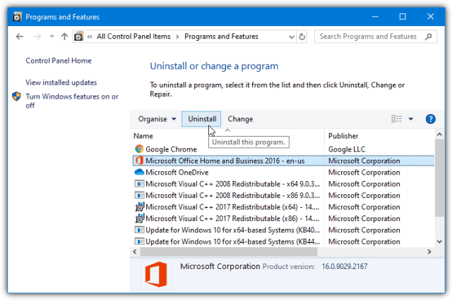 uninstall_office_programs_features This Action is only Valid for Products that are Currently Installed