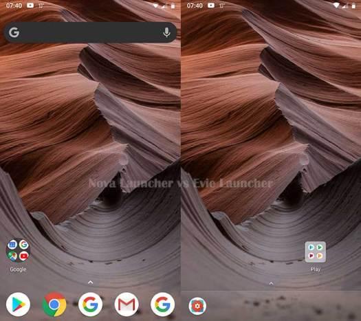 Nova Launcher vs Evie Launcher - Home screen