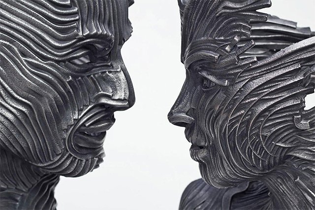 Human Figures made of untangling stainless Steel _4