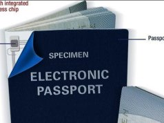 RFID chip embedded in passport