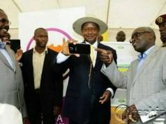 President Museveni takes a Selfie