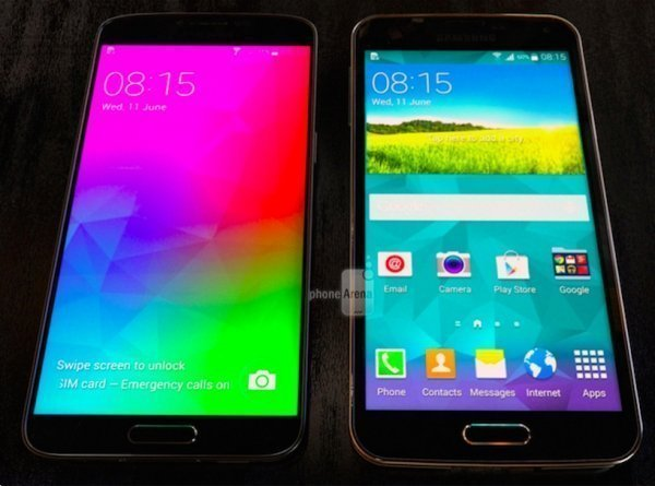 The Galaxy F along side the Galaxy s5