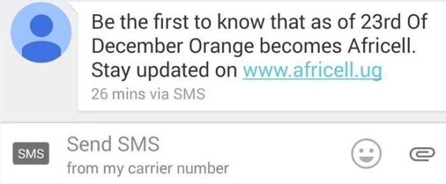 Africell Uganda SMS, Orange
