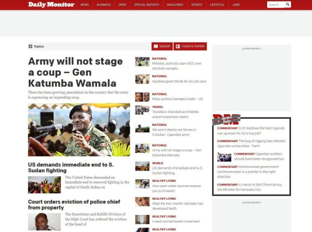 Daily Monitor home page