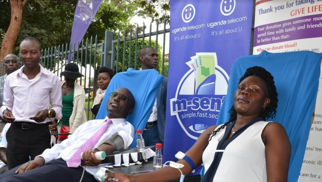 UTL blood donation drive Minister Anite Evelyn donates