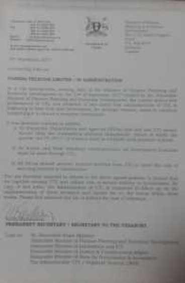 UTL admin letter