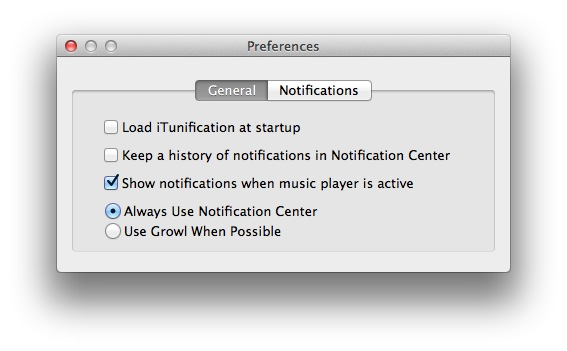 iTunification Preferences