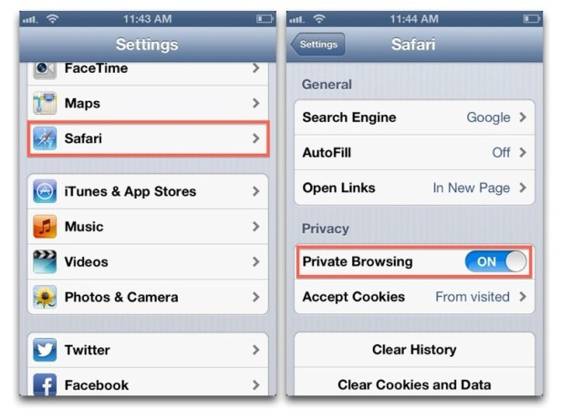 Enable Private Browsing iOS