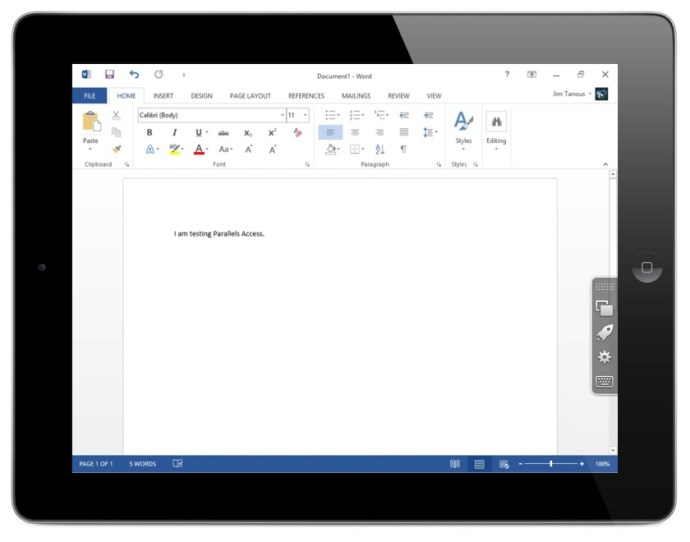 Parallels Access Review Word 2013