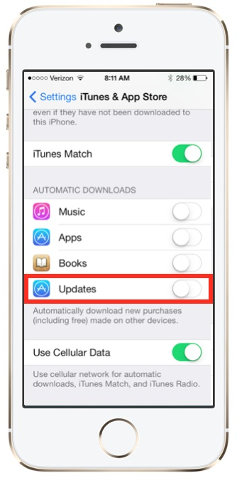 Enable Automatic App Updates iOS 7