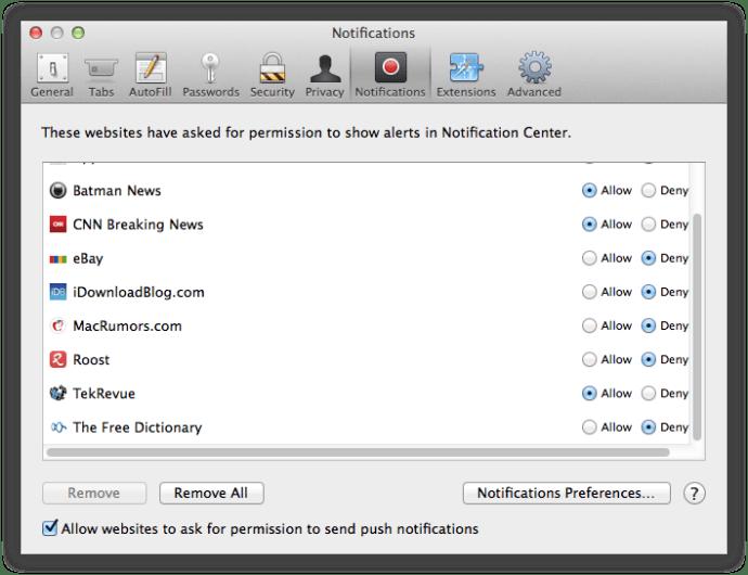 Safari Push Notifications Preferences